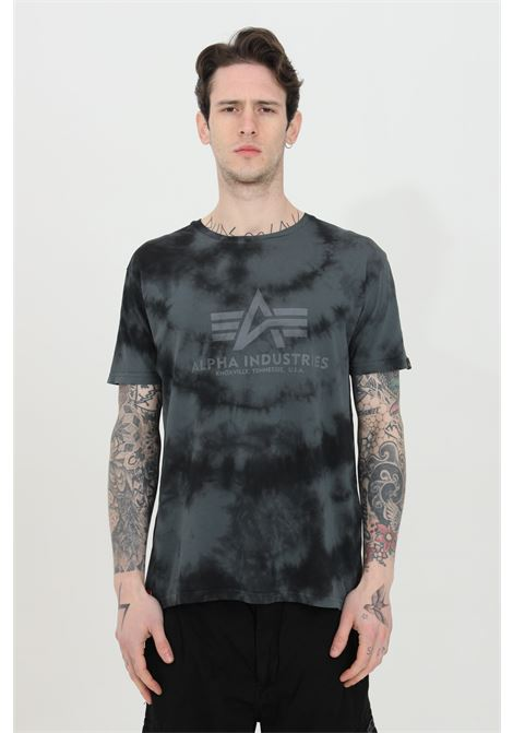 Blue t-shirt with front logo and allover pattern print, short sleeve. Alpha industries ALPHA INDUSTRIES | T-shirt | 116517136