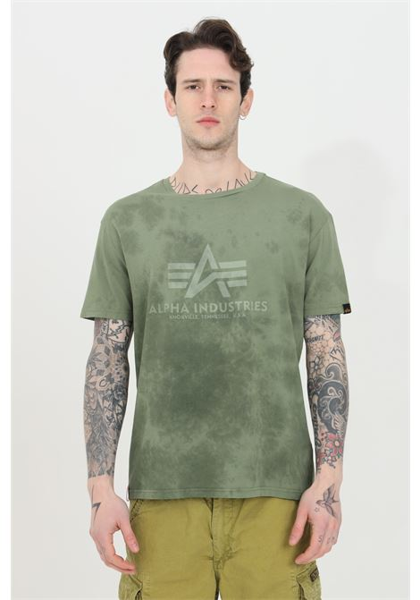 Green t-shirt with front logo and allover pattern print, short sleeve. Alpha industries ALPHA INDUSTRIES | T-shirt | 116517142