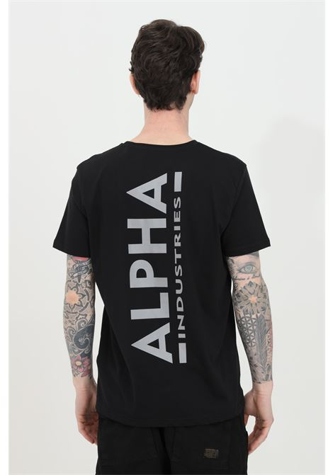 Black t-shirt with logo on the front and contrasting logo print on the back, short sleeve. Alpha industries ALPHA INDUSTRIES | T-shirt | 128507RP285