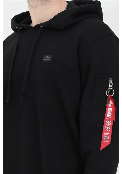 Black hoodie with laces, comfortable model. Alpha industries ALPHA INDUSTRIES | Sweatshirt | 15832103