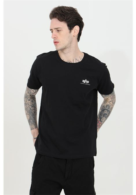 Black t-shirt with front logo in contrast, short sleeve. Basic model. Alpha industries  ALPHA INDUSTRIES | T-shirt | 18850503