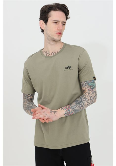 Olive t-shirt with front logo in contrast, short sleeve. Basic model. Alpha industries  ALPHA INDUSTRIES | T-shirt | 18850511