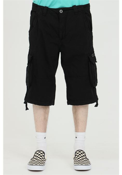 Black shorts with belt loops, back pockets with slippers and bottom with drawstring. Cargo model. Alpha industries  ALPHA INDUSTRIES | Shorts | 19120003