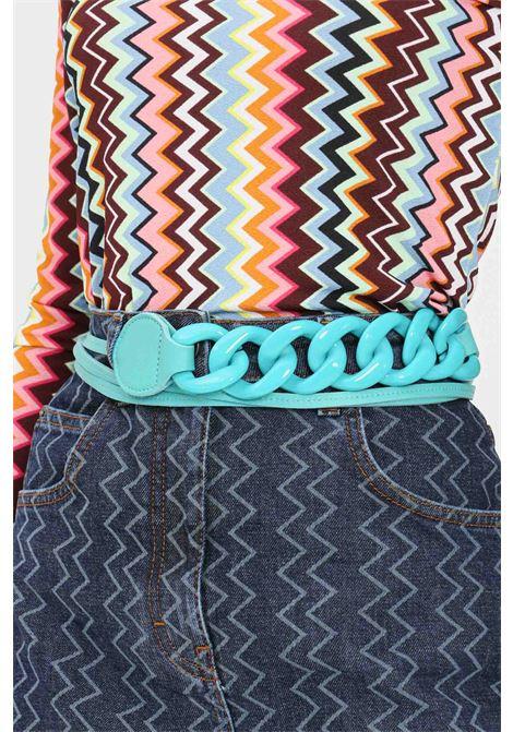 Green women's belt with tone on tone rings argento antico ARGENTO ANTICO | Belt | AA005VERDE