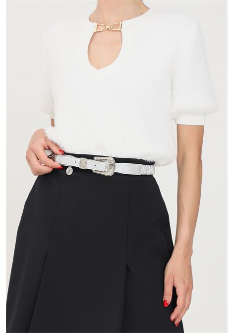 Silver women's belt with tone on tone buckle argento antico  ARGENTO ANTICO | Belt | AA1615ARGENTO