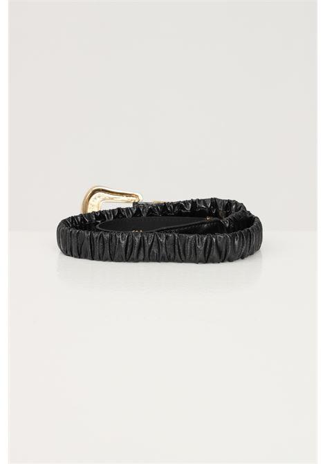 Black women's belt with gold buckle argento antico  ARGENTO ANTICO | Belt | AA1615NERO