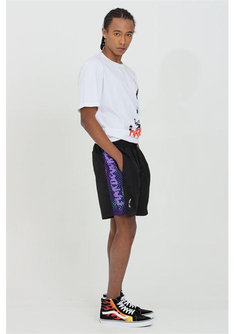 Shorts uomo nero casual Australian con stampa laterale.Molla in vita e modello comodo AUSTRALIAN | Shorts | HCUSH0004003