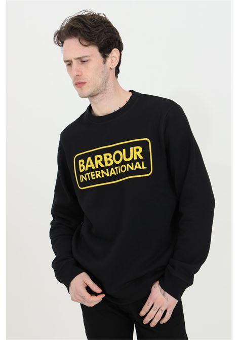 Felpa uomo nero barbour girocollo con stampa logo international frontale BARbour | Felpe | MOL0156-MOLBK31