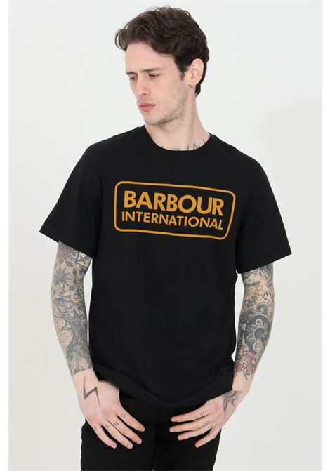 T-shirt uomo nero barbour a manica corta con stampa logo international frontale BARbour | T-shirt | MTS0369-MTSBK31