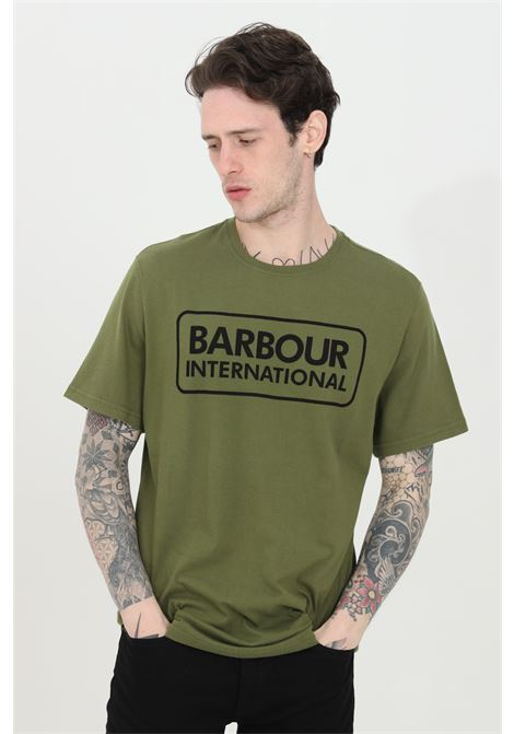 T-shirt uomo verde barbour a manica corta con stampa logo international frontale BARbour | T-shirt | MTS0369-MTSGN16