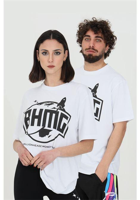 T-shirt unisex bianco Bhmg a manica corta con maxi stampa. Fondo dritto BHMG | T-shirt | 028328001