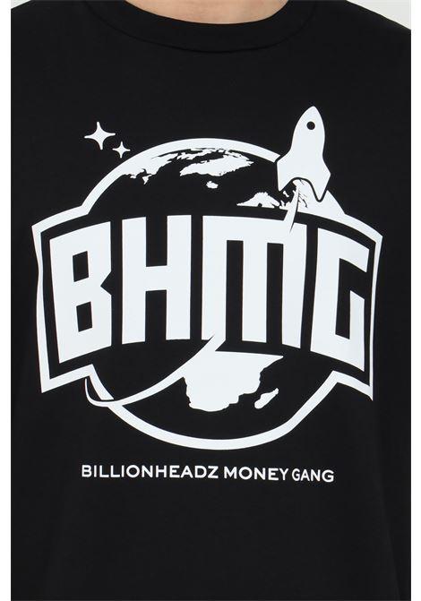 Black t-shirt with maxi print,short sleeve. Straight bottom.Bhmg BHMG | T-shirt | 028328110