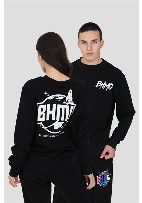 Black crew neck sweatshirt with maxi print on the front. Over fit and elastic hems.Bhmg