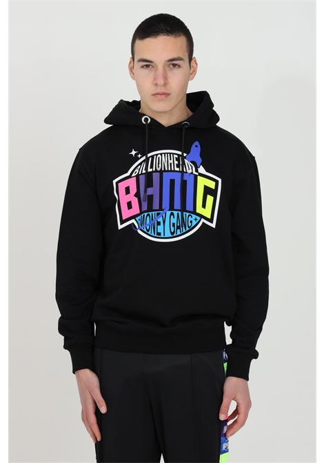 Felpa uomo nero Bhmg con cappuccio e logo frontale BHMG | Felpe | 029035110