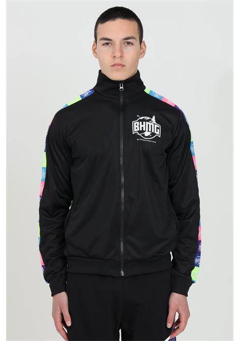 Felpa uomo nero Bhmg con zip integrale e bande multicolor BHMG | Felpe | 029042110