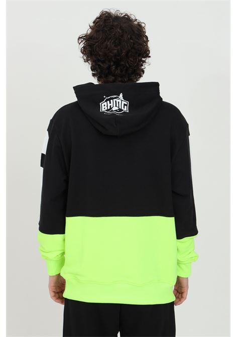 Felpa uomo nero-giallo fluo Bhmg con cappuccio BHMG | Felpe | 029044110/28