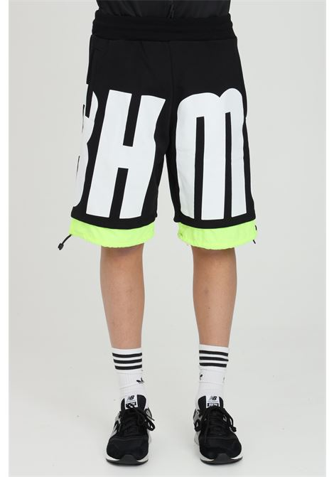 Black casual shorts with maxi print and elasticated waist.Bottom with fluo drawstring. Side pockets.Bhmg