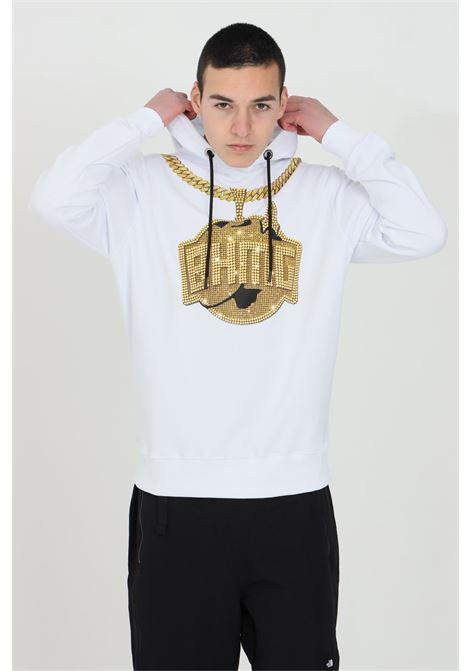 Felpa uomo bianca Bhmg con cappuccio e stampa oro BHMG | Felpe | 029113001