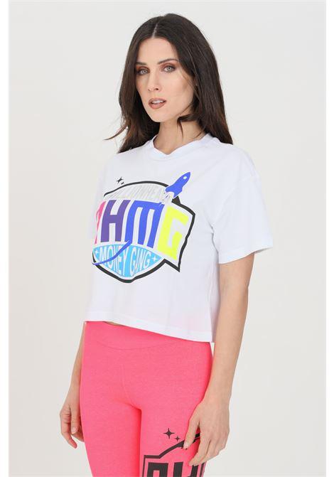 T-shirt donna bianco a manica corta con stampa sul fronte BHMG | T-shirt | 029120001