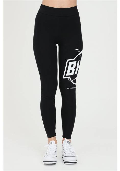 Leggings donna nero bhmg a vita alta con stampa laterale a contrasto BHMG | Leggings | 029123110