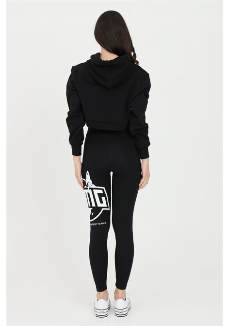 Black leggings with contrasting print on the side. Bhmg BHMG | Leggings | 029123110