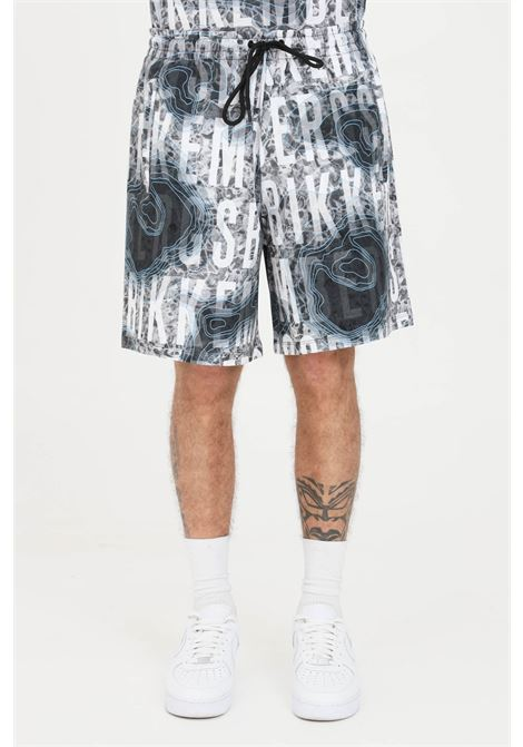 Shorts uomo fantasia grigio bikkembergs casual con stampa all-over BIKKEMBERGS | Shorts | C120700E22510022