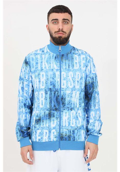 Blue sweatshirt with allover logo print, closure with zip. Bikkembergs BIKKEMBERGS | Sweatshirt | C305100E22510021