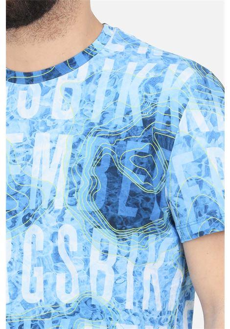 Light blue t-shirt with allover print, short sleeve. Bikkembergs BIKKEMBERGS | T-shirt | C410100E22500021
