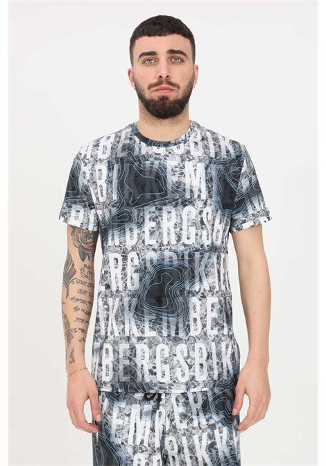 Grey t-shirt with allover print, short sleeve. Bikkembergs BIKKEMBERGS | T-shirt | C410100E22500022