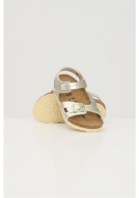 Gold baby Rio Kids Electric Metallic Gold sandals. Birkenstock  BIRKENSTOCK | Sandal | 1014829.