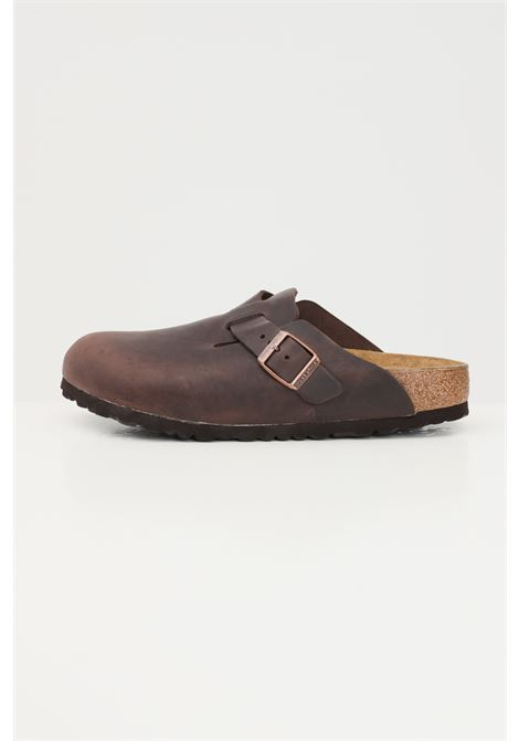 Brown women's boston habana slippers by birkenstock with adjustable buckle BIRKENSTOCK   Slipper   860133.