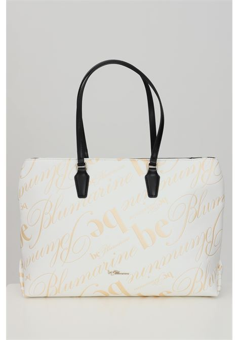 White bag, shopper model with allover print and eco-leather handles. External closure with zip and internal compartments with zip. Blumarine Blumarine | Bag | E17WBBA371684MCI