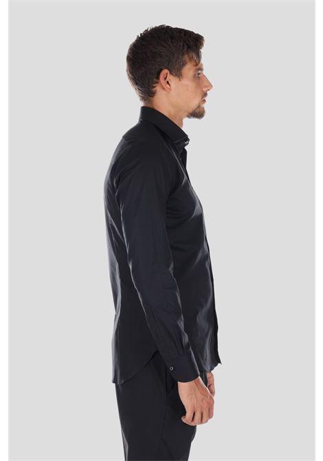 Camicia uomo nero brancaccio caruso elegante con bottoni BRANCACCIO CARUSO | Camicie | SL0000KS66005GUNI