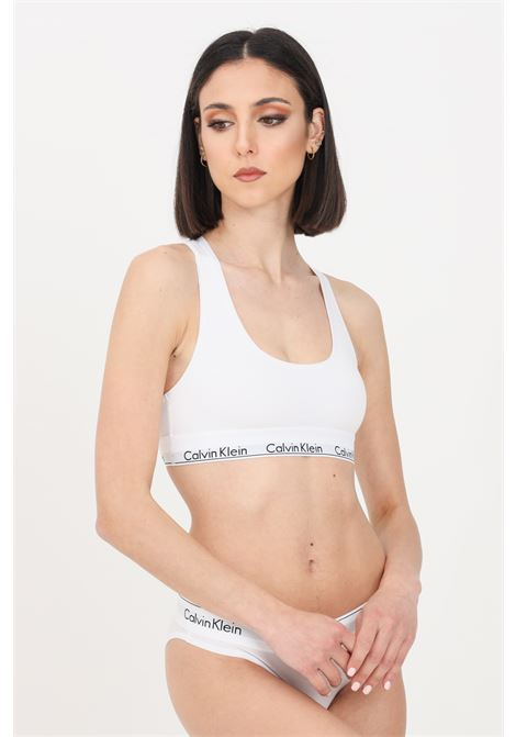 Intimo bralette donna bianco calvin klein con banda logata a contrasto CALVIN KLEIN | Bralette | 0000F3785E100