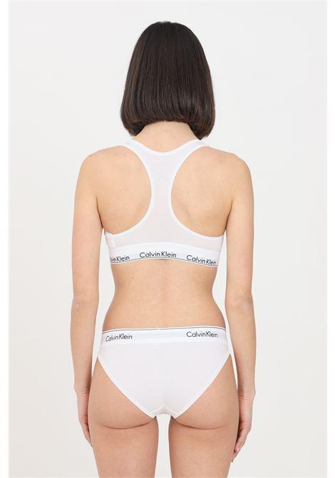 Slip donna bianco calvin klein in cotone con banda logata CALVIN KLEIN | Slip | 0000F3787E100