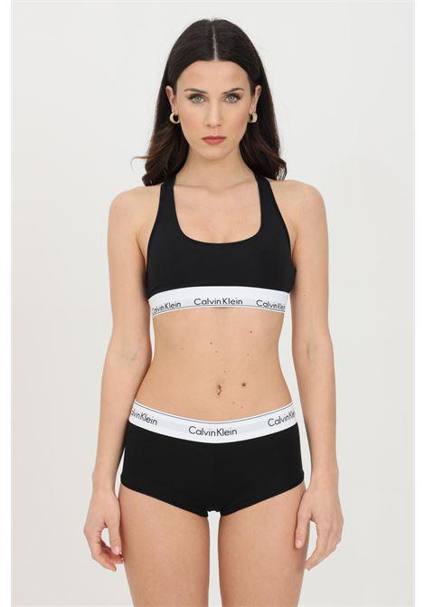 Intimo boxer hipster donna nero calvin klein a vita media con molla logata a contrasto CALVIN KLEIN | Boxer | 0000F3788E001