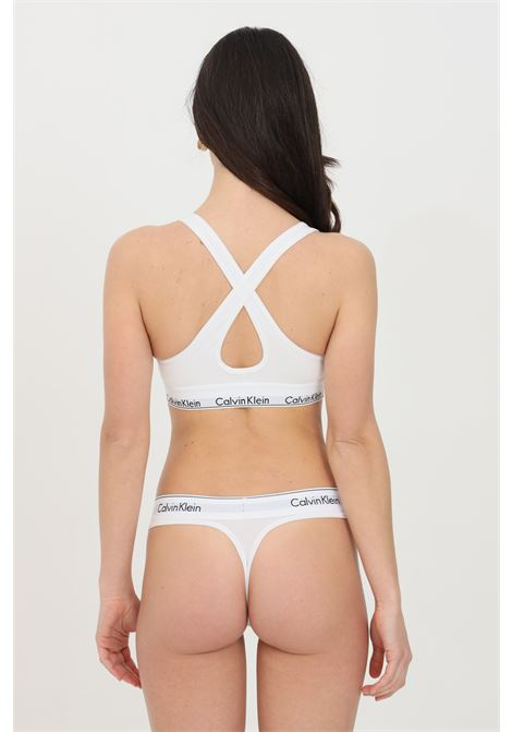 Intimo bralette donna bianco calvin klein con banda elastica logata CALVIN KLEIN | Bralette | 000QF1654E100