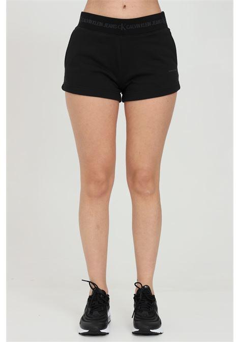 Shorts donna nero calvin klein casual con molla logata in vita CALVIN KLEIN | Shorts | J20J215561BEH
