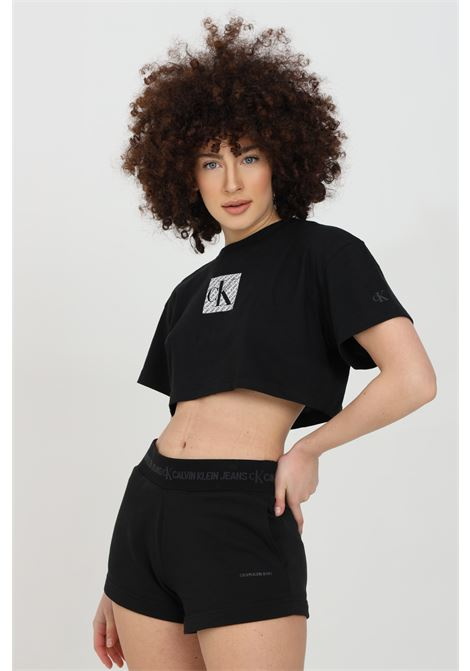 T-shirt donna nero calvin klein a manica corta con logo frontale, modello crop CALVIN KLEIN | T-shirt | J20J215612BEH