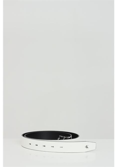 Cintura donna bianco calvin klein modello sottile tinta unita con fibbia logata in acciaio CALVIN KLEIN | Cinture | K60K60773700Z