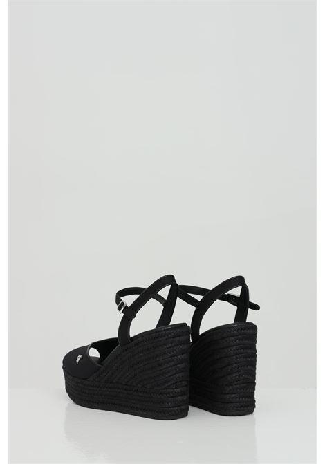 Party shoes donna nero calvin klein sandalo con zeppa in tinta unita, chiusura regolabile CALVIN KLEIN | Party Shoes | YW0YW00121BDS