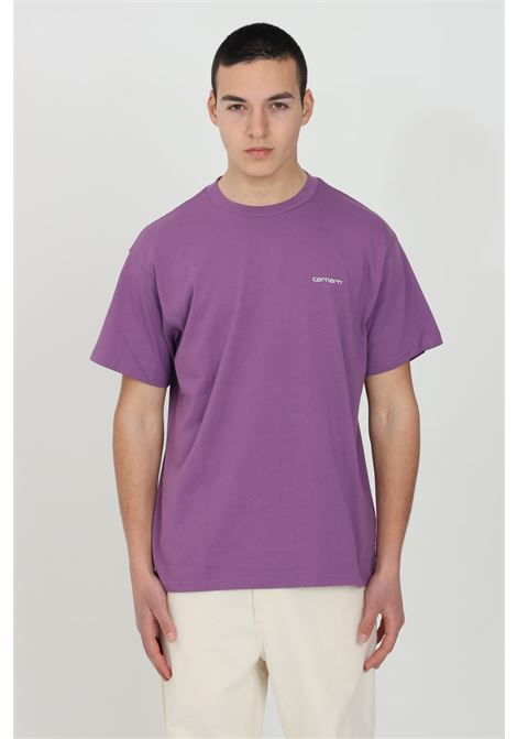 Purple script embroidery t-shirt in cotton jersey with embroidered logo in contrast, short sleeve. Carhartt CARHARTT | T-shirt | I025778.030AJ.90