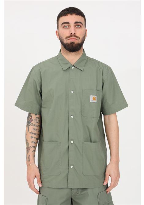 Camicia S/S creek uomo verde carhartt casual con tasche frontali CARHARTT | Camicie | I028804.03667.00
