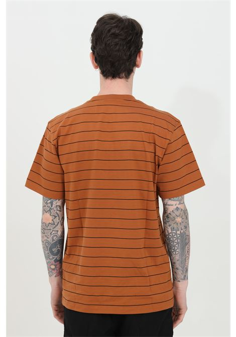 Crew neck t-shirt with striped print and embroidered logo CARHARTT | T-shirt | I028925.030AB.90