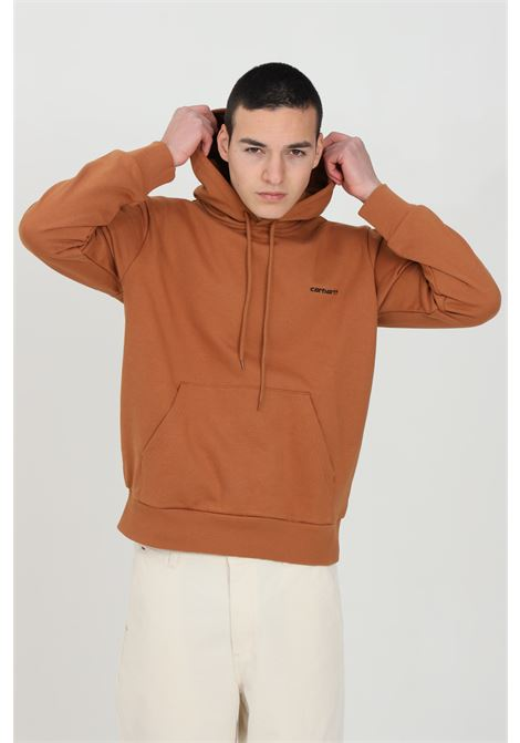Brown hoodie with drawstring, front pocket and embroidered logo, ribbed cuffs and bottom. Carhartt  CARHARTT | Sweatshirt | I028937.030AB.90