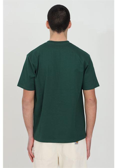 Green S/S University Script t-shirt with front print, short sleeve. Basic model. Carhartt CARHARTT | T-shirt | I028991.0308Z.90