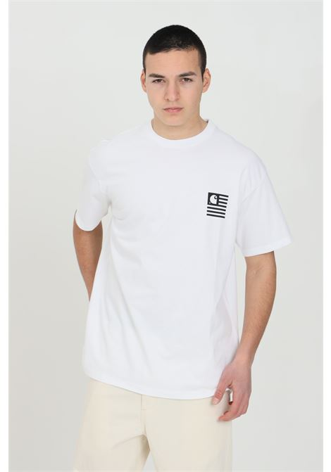 White S/S Wavy State t-shirt with graphic print on the front and on the back. Carhartt CARHARTT | T-shirt | I029011.0302.90