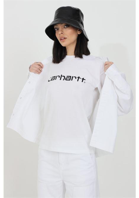 White t-shirt with front logo print, short sleeve. Carhartt CARHARTT | T-shirt | I029076.0302.90