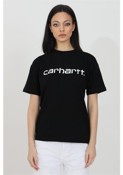 Black t-shirt with front logo print, short sleeve. Carhartt CARHARTT | T-shirt | I029076.0389.90