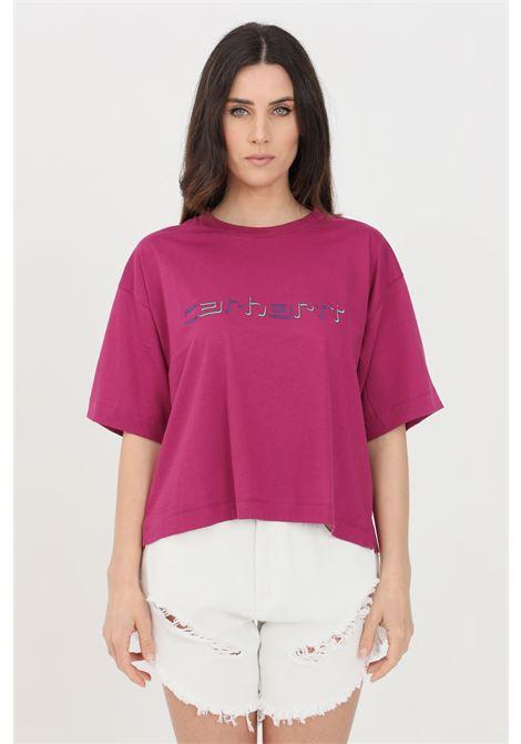 Purple t-shirt with front logo, short sleeve. Carhartt CARHARTT | T-shirt | I029089.030AP.00